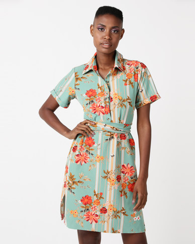 Utopia Floral Stripe Tie Front Dress Green