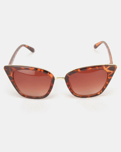 Utopia Fashion Cat Eye Sunglasses Animal Print Brown