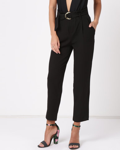 Sissy Boy Girl Boss Paper Bag Trousers Black