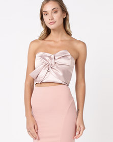 Sissy Boy Satin Crop Top After 6 Dark Nude
