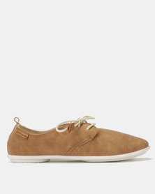 Pierre Cardin Jazzy Lace Up Flats Camel