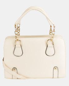 Utopia Gold Link Handbag White