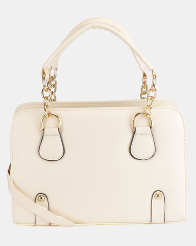 Utopia Gold Link Handbag White