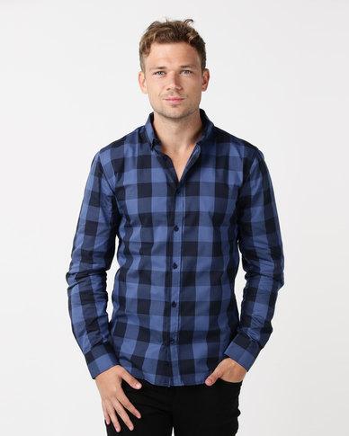 bfce4a2a Beaver Canoe Paul Jones Plaid Check Long Sleeve Shirt Blue | Zando