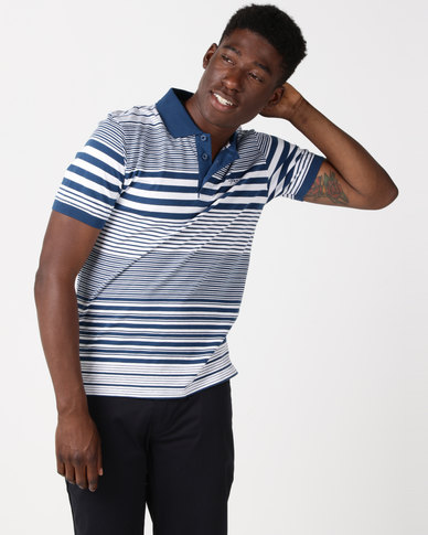 JCrew  Stripe Cotton Golfer Blue & White