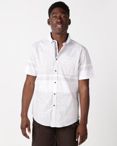 JCrew Varigated Stripe Slub Base Stripe Shirt Taupe