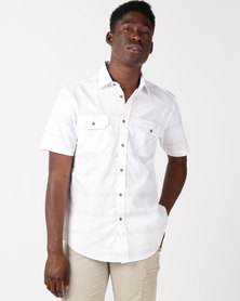 JCrew Raised Stitch Detail Short Sleeve Shirt Beige