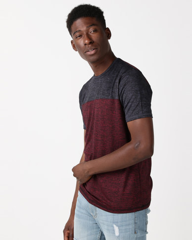 JCrew Marled Two Tone Crew Neck Tee Burgundy