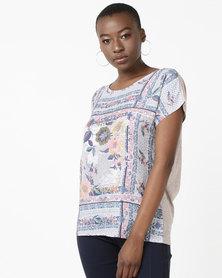 Queenspark Foil Portrait Print Knit Top Multi