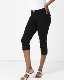 Queenspark Pearl Cuffed Woven Capri Pants Black