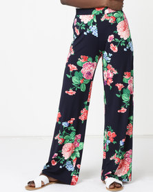 Queenspark Floral Printed Knit Trousers Blue