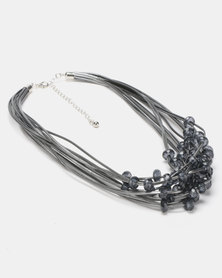 Queenspark Multi Strand Rope with Beads Necklace Silver-Toned