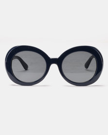 Queenspark Wide Rimed Large Iris Apfel Style Sunglasses Navy