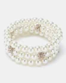 Queenspark 3 Pk Pearl Stretchie Bracelet Cream