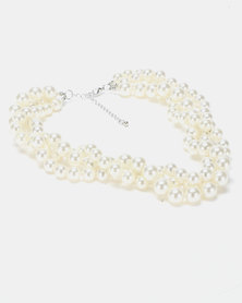 Queenspark 4 Row Pearl Necklace White