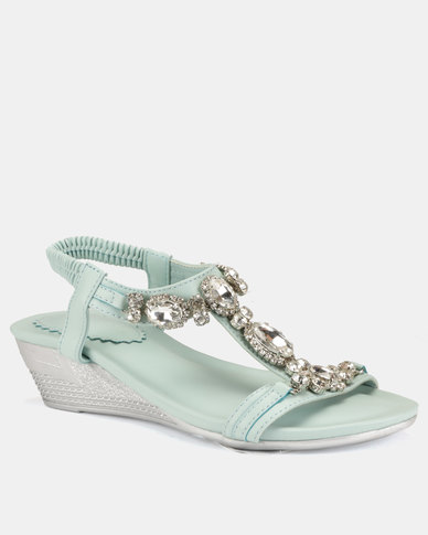 Queenspark Big Jewels on Double Strap on Wedges Silver