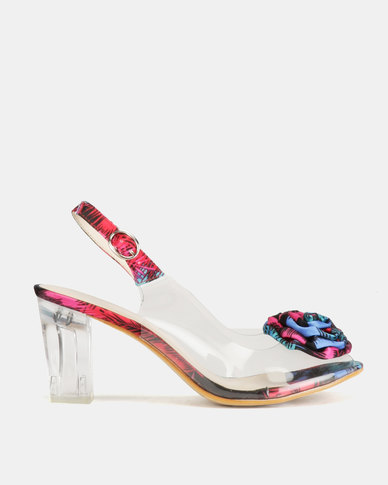 Queenspark Multi Print with Rose on Glass Heels Pink