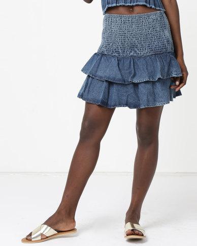 RVCA Scunchie Skirt Denim Blue