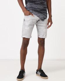 K Star 7 Plover Denim Shorts Bleach Grey