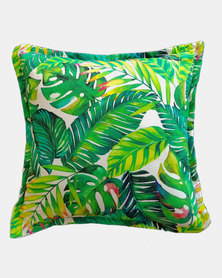 Fundi Light & Living Tropical Leaves Scatter Cushion Green