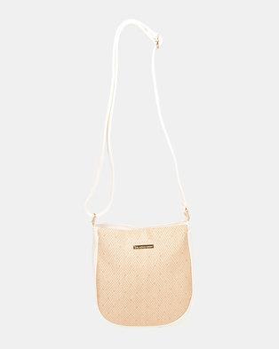 Blackcherry Bag U Shaped Cross Body Bag White/Hessian