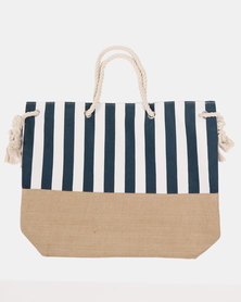 Blackcherry Bag Striped Beach Bag  White and Blue