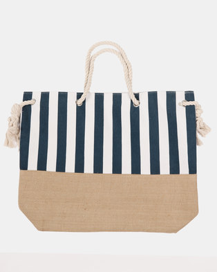 475266595074 Blackcherry Bag Striped Beach Bag White and Blue