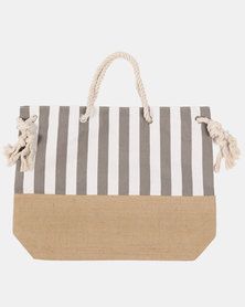 Blackcherry Bag Striped Beach Bag  White and Fossil Grey