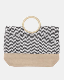Blackcherry Bag Hessian Beach Bag Black / Black