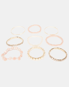 Bijoutique Pearl & Diamante Bracelet & Earring Set Gold