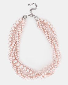 Bijoutique Pink Pearls Multistrand Necklace Pink