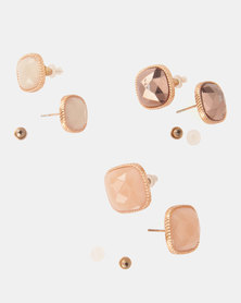Bijoutique 3 Pack Square Earrings Pink/Gold