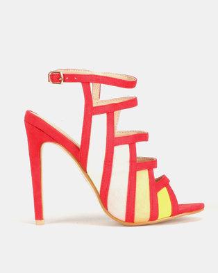 20995ab73ec PLUM Multi Strap Heels Red