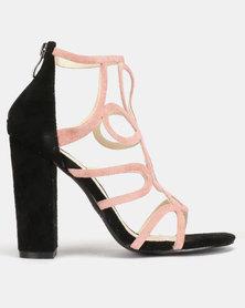 PLUM Monik Heels Black Dusty Pink
