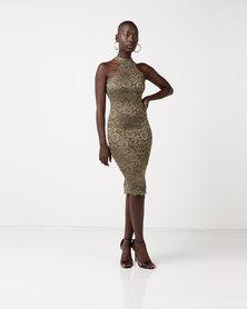 AX Paris Cut In Neck Detail Lace Midi Dress Khaki