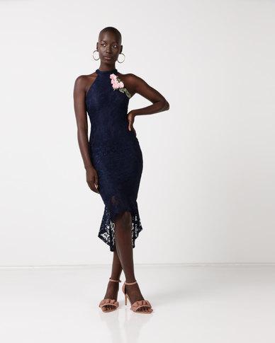 AX Paris Lace Choker Neck Midi Dress Navy