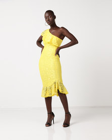 AX Paris Lace One Shoulder Frill Detail Midi Dress Yellow
