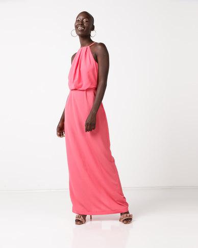 AX Paris Halterneck Strappy Lace Detail Maxi Dress Coral