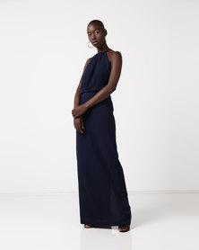 AX Paris Halterneck Strappy Lace Detail Maxi Dress Navy
