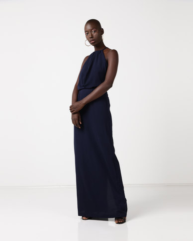 AX Paris Halterneck Strappy Lace Detail Maxi Dress Navy