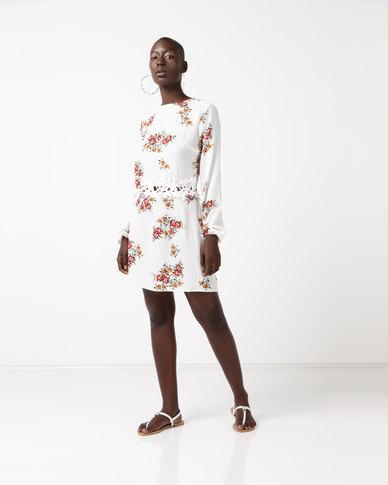 AX Paris Long Sleeves With Crochet Detailing Waistband Dress Cream Floral