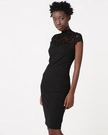 City Goddess London Open Back High Neck Midi Dress With Lace Detail Black