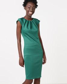 City Goddess London Pleated Neckline Cap Sleeve Bengaline Dress Emerald