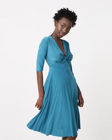 833e1942e48e9 City Goddess London Twist Front Skater Dress Teal | Zando