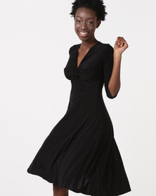 City Goddess London Twist Front Skater Dress Black
