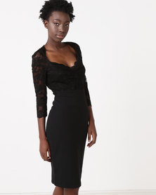 City Goddess London Half Sleeve Midi Dress With Sweetheart Neckline Black