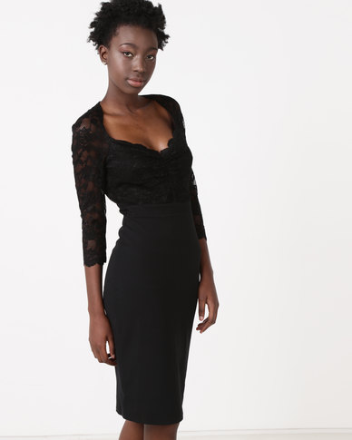 e3615ac5950b City Goddess London Half Sleeve Midi Dress With Sweetheart Neckline Black |  Zando