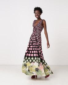 City Goddess London Polka Dot Palm Leaves V Neck Maxi Dress Pink