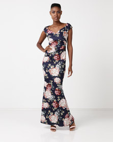 City Goddess London Floral Print Maxi Dress with Pleating Detail Navy