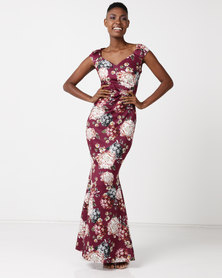City Goddess London Floral Print Maxi Dress with Pleating Detail Wine